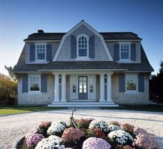 Compact House with Efficient Floor Plan - House on Port Fortune - DigsDigs Country House Design, Cottage Design, Teen Room Designs, Usa House, Gambrel Roof, Compact House, Porch Columns, Cedar Homes, Dutch Colonial