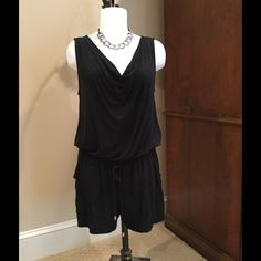 BLack Romper SOft, cool romper, 3.5 in inseam with pockets in front, key hole in back and drawstring waist.  3.5 in inseam.  Great condition, no flaws. Mossimo Shorts