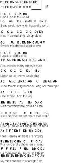 Flute Sheet Music: Coldplay Viva La Vida Part 1