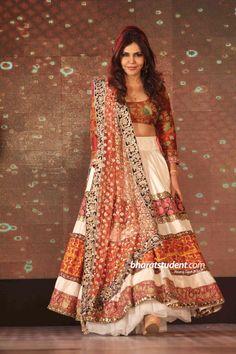Brown and White Lengha- Manish Malhotra