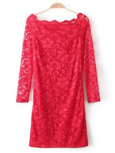 Red Boat Neck Long Sleeve Embroidery Lace Dress