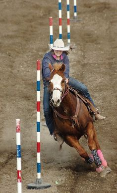 A Good Horse Going Through the Paces of Pole Bending; And Pole Bending is one of the Toughest Things to do Sometimes. Cowgirl And Horse, My Horse, Horse Tack, Horse Racing, Pole Bending, Rodeo Life, Western Riding, Barrel Horse, Bull Riding