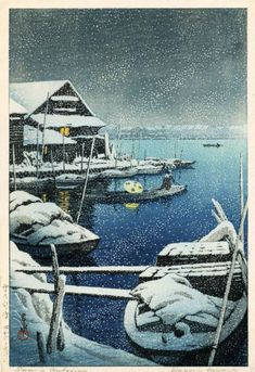 hasui SNOW AT MUKOJIMA