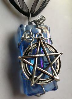 #Silver #Pentagram #Wrapped on #Blue #Peacock #Glass #Tile on by Eldwenne, $22.00 #etsy #handmade #jewelry #pagan #wiccan #SPN
