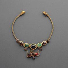 Hellenistic Gold Butterfly Necklace -- 2nd Century BCE -- Gold, garnet & emerald.