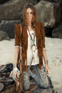 Look at this jacket. I am having fashion convulsions. LOVE. Cowgirl Dreams Tassel Jacket – Tan Suede - Spell Designs
