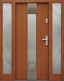 Drzwi zewnętrzne ze stałymi dostawkami doświetlami bocznymi model 440,1+ds4 w kolorze ciemny dąb