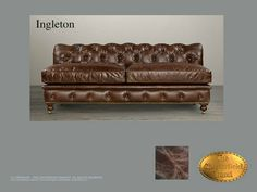 Chesterfield 3  Sitzer Sofa</br>Ingleton 3, no arms Old Look Braun