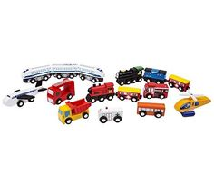 Wooden Train Car Set - 15 Unique Vehicles And Engines Add Variety To Your Set - Compatible With Thomas, Brio, All Major Brands, http://www.amazon.com/dp/B017ABHE64/ref=cm_sw_r_pi_awdm_x_kyAbyb2545C7J