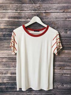 Stripe Sleeve Ringer Tee (Red)