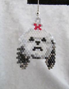 Beaded ShihTzu Earrings by DsBeadedCrochetedEtc on Etsy, $18.00
