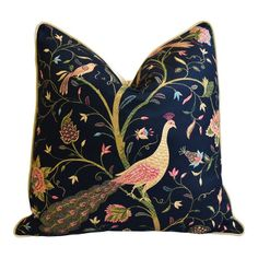 "Chinoiserie Asian Floral Peacock & Velvet Feather/Down Pillow 24"" Square"