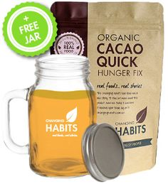 Organic Cacao Quick Hunger Fix.  A very versatile mix that can be used for a healthy meal on the go – ideal for hot drinks, cold drinks, smoothies, protein balls or puddings. Great for home, work, travelling and camping.
