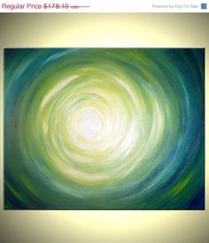 Abstract Green Original Painting Green Yellow by Laffertyart, $138.92