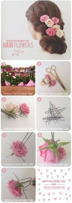 How to pin real flowers in hair