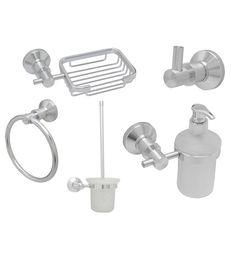 Dolphy Silver Aluminum 5-piece Bath Set