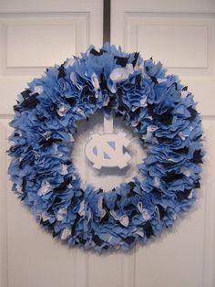 18 North Carolina Tar Heels Fabric Wreath by burt7 on Etsy