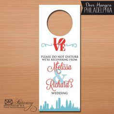 Philadelphia Wedding Door Hangers  - Set of 10 - Destination Wedding Door Hanger - Great Wedding Favors