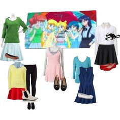 """""""Sailor Moon Crystal-Group"""" by ladyinthecorner on Polyvore I need all of these outfits"""