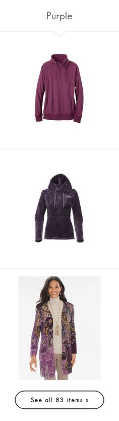 """""""Purple"""" by lindaweldon ❤ liked on Polyvore featuring tops, yoga tops, holiday shirts, pocket shirts, surplice top, long collar shirt, prana tops, hoodies, purple and funnel-neck hoodies"""