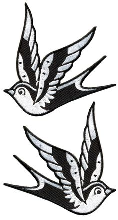 """Add a little flash to your boring jacket or bag with a pair of these Sparrow patches! This set includes two black & white traditional tattoo-inspired sparrows. You can adhere your patch with an iron and reinforce with sewing. Made by Sourpuss 3"""" by 3"""""""