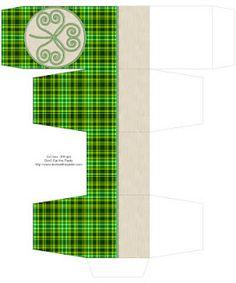 printable plaid shamrock box 2x2x2