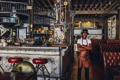 Truth, a steampunk-themed coffee shop in Cape Town, South Africa, photographed by Shanna Jones in Victorian futuristic fantasy aesthetic. The post Steampunk Coffee Shop appeared first on Didier J. Steampunk Interior, Steampunk Cafe, Steampunk Design, Steampunk Bedroom, Steampunk Machines, Steampunk Furniture, Design Café, Bar Interior Design, Cafe Design