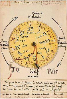 Stéphane Mallarmé, dessin pédagogique pour ses cours d'anglais, lire l'heure, Manuscrit Paris, Bibliothèque Jacques Doucet #MuséeStéphaneMallarmé