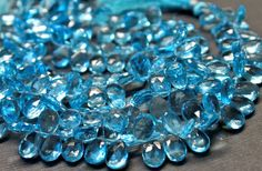 AAA sky blue quartz gemstone briolette faceted sky by GemstonebyPM, $8.60