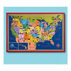 Kids United States Map Wall Art