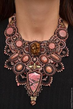 Pink and Brown Bead Embroidered Bracelet, Bead Embroidery Jewelry, Soutache Jewelry, Beaded Embroidery, Beaded Jewelry, Handmade Jewelry, Beaded Necklace, Necklaces, Collar Necklace