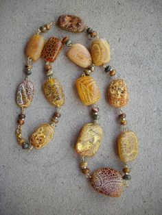 Yellow Amber and Brown Chunky Quartz Free by DesignsbyPattiLynn, $60.00