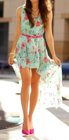 Floral print high-low dress w/ pink accent belt. WANT high low dress! Cute Dresses, Cute Outfits, Summer Dresses, Floral Dresses, Dress Outfits, Summer Outfits, Awesome Dresses, Floral Shoes, Dress Clothes