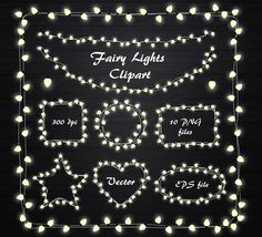 Fairy Lights Clipart, String Lights Clipart, Fairy Lights frame, Lights clipart, wedding invitation, Lamp, Personal and Commercial Use by PassionPNGcreation on Etsy https://www.etsy.com/listing/205543879/fairy-lights-clipart-string-lights