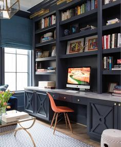 Luxury Home Office Design Ideas. Hence, the need for residence offices.Whether you are intending on including a home office or renovating an old room right into one, below are some brilliant home office design ideas to aid you get going. Office Built Ins, Built In Desk, Built In Bookcase, Built In Cabinets, Bookcases, Study Office, Office Setup, Library Shelves, Bookshelf Ideas