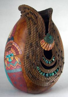 Gourd art by Judy Richie - this is just one of many of her pieces... they are all amazing