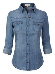 Denim Outfit, Denim Shirt, Denim Button Down, Button Up Shirts, 60 Fashion, Fashion Outfits, Fall Fashion, Roll Up Sleeves, Short Sleeves