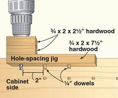 Make perfectly spaced shelf-pin holes with a portable drill and this simple jig. Woodworking Drill Press, Woodworking Router Bits, Woodworking Table Saw, Used Woodworking Machinery, Woodworking Tools For Sale, Woodworking Workshop, Woodworking Plans, Woodworking Projects, Router Jig