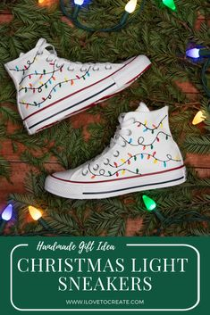 Everyone loves a handmade gift! Give this simple DIY Christmas light sneaker tutorial a try! christmas clothes Christmas Lights Sneakers for Handmade Gifts Diy Christmas Lights, Christmas Shoes, Christmas Diy, Christmas Sweaters, Christmas Clothes, Christmas 2019, Christmas Presents, Vintage Christmas, Puffy Paint Crafts