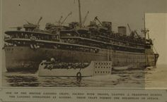 Algiers - British landing craft packed with troops during landing operations at Algiers from Illustrated London News  Nov 1942