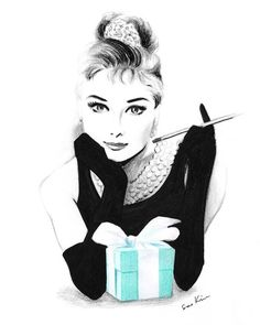 Audrey Hepburn Breakfast at Tiffany& - Pencil and pen drawing - This is a print from my original mixed media drawing: crayons, pencil and marker. Printed on white, - Tiffany And Co, Tiffany Blue, Tiffany Room, Art Blanc, Rick Und Morty, Audrey Hepburn Breakfast At Tiffanys, Mode Poster, Fashion Sketches, Fashion Illustrations