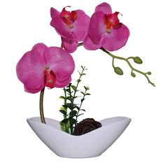 Huazhiwu 9' Nearly Natural Artificial Silk Phalaenopsis Orchid Flowers Mini Bonsai, Pink ** You can find more details by visiting the image link.