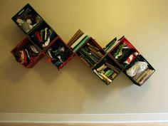 milk crate shelves........Hmmmmmmm maybe you can paint them too!! *ideas*