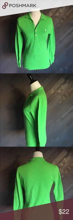 Ralph Lauren Green Long Sleeved Polo Shirt 💚💚💚 Ralph Lauren green long sleeved polo shirt in like new condition. 22 Long, 15 from arm pit to arm pit. Ralph Lauren Tops Tees - Long Sleeve