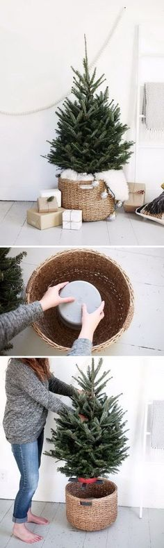 DIY Christmas Tree Stand Using Bucket Upside Down In A Large Basket. Sponsored Sponsored DIY Christmas Tree Stand Using Bucket Noel Christmas, Country Christmas, Winter Christmas, Christmas Wreaths, Christmas Tree In Basket, Upside Down Christmas Tree, Christmas Tree Base, Natural Christmas, Xmas Trees