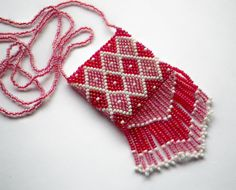 Christmas Candy Red Pink White Vintage Bead Woven by CassieVision