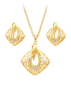Wholesale 2 Pieces Pendant Jewelry Sets From China Top Jewelry Supplier Gold Jewelry Simple, Gold Rings Jewelry, Jewelry Design Earrings, Gold Jewellery Design, Pendant Earrings, Jewelry Sets, Jewelery, Pendant Jewelry, Gold Earrings