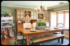 The Old Painted Cottage Einzigartige Goods and Curious Sucht Painting Kitchen Cabinets, Wood Cabinets, Dining Room Furniture, Dining Rooms, Painted Cottage, Furniture Inspiration, Southern Living, Country Kitchen, Cottage Decorating