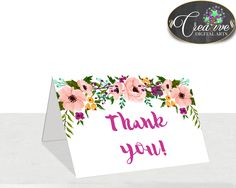 Baby Shower Painting Flowers Baby Shower Thank You Note Thank-you Card THANK YOU CARD, Customizable Files, Party Decorations - flp01 #babyshowergames #babyshower
