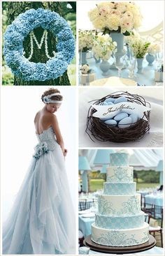 I absolutely adore pale blue and white for wedding colors and used them myself for my own